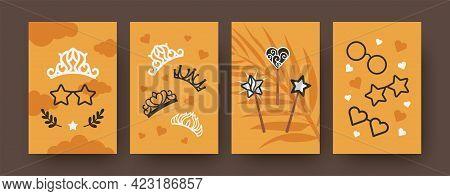 Fairytale Illustrations Set. Bright Set Of Fairytale Elements Isolated On Orange Background. Magic W