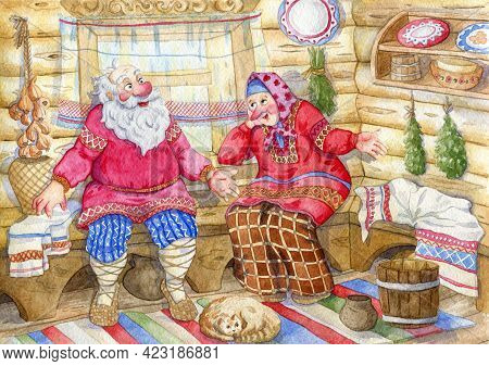 Couple Of Seniors Dressed In Traditional Russian Folk Costumes In The Russian Hut. Funny Cartoon Cha