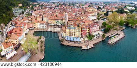 Riva Del Garda Aerial Panoramic View. Riva Is A Town At The Northern Tip Of The Lake Garda In The Tr