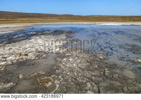 Mud Sopka (hill) Of Vernadsky, Flat Volcano In Bulganak Field Near Kerch, Crimea. During Eruption It