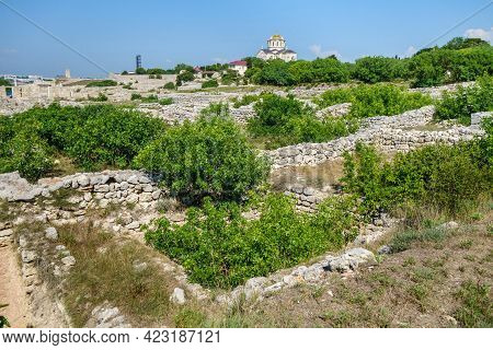 Remains Of Residential Houses In Ancient City Chersonesus, Sevastopol, Crimea. City Founded In V Bc