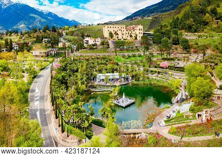 Aerial View Of The Trauttmansdorff Castle Gardens, A Botanical Gardens Located In Merano City In Nor