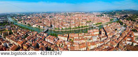 Verona City And Adige River Aerial Panoramic View In Veneto Region In Italy