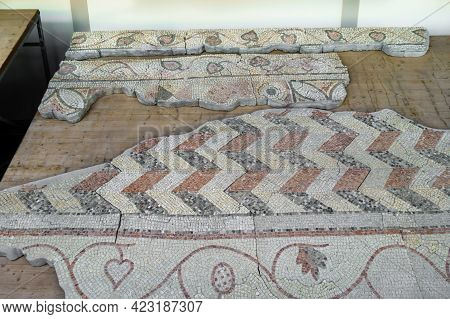 Floor Mosaic Ornaments From Byzantine Church Of Vi. There Are Geometric Waves Or Zigzags, Stylized P