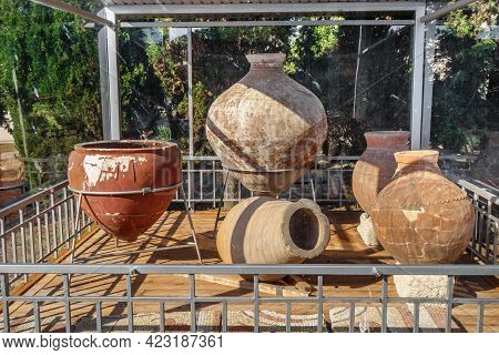 Ancient Amphora Of Byzantine Era. They Used As Universal Storage For Almost Everything, From Keeping