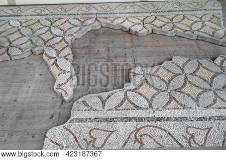 Floor Mosaics Of Byzantine Epoch (circa Vi Ad). There Are Geometric Ornaments In Form Of Circles And