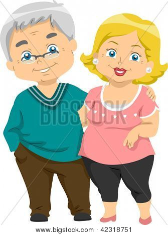 Illustration of Happy Senior Couples
