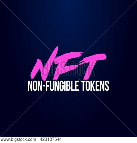 Colorful Simple Flat Art Vector Illustration Of Headline Signboard Text Nft Non-fungible Tokens