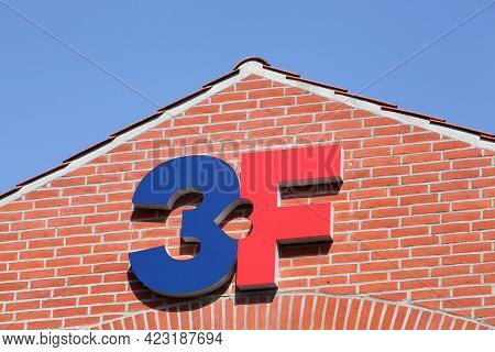 Aarhus, Denmark - April 18, 2021: 3f Sign On A Building. 3f Is The United Federation Of Workers, A D