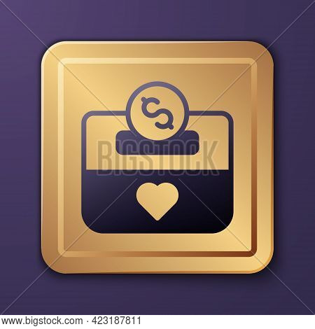 Purple Donation And Charity Icon Isolated On Purple Background. Donate Money And Charity Concept. Go