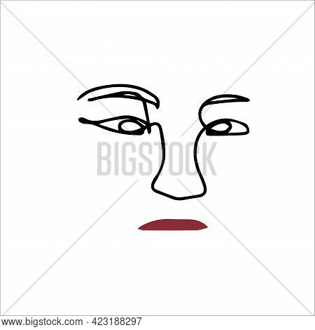 Simple Silhouette Of The Face. Red Lips. Vector Illustration Of A Face In One Line Style. Logo For T