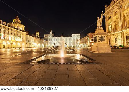 Piazza Madama Or Castle Square In Turin City, Piedmont Region Of Italy