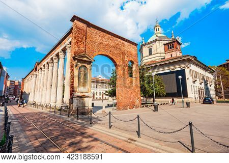The Colonne Or Columns Di San Lorenzo Is An Ancient Roman Ruins Located In Front Of The San  Lorenzo