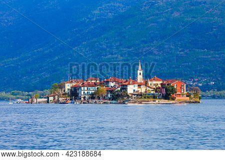 Isola Dei Pescatori Near The Stresa Town  Panoramic View. Isola Dei Pescatori Or Fishermens Island I
