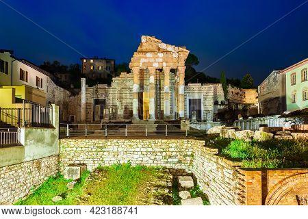 The Capitolium In The Roman Forum Is Located In The Centre Of Brescia City In North Italy