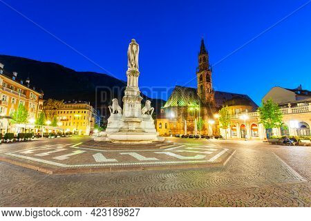 Waltherplatz Or Piazza Walther Von Der Vogelweide Is The Main Square In Bolzano City In South Tyrol,