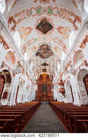 Luzern, Switzerland - July 11, 2019: Lucerne Jesuit Church Or Jesuitenkirche St. Franz Xaver Is A Ca