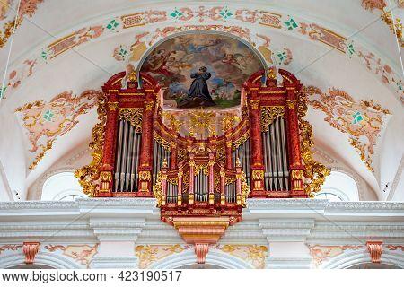 Luzern, Switzerland - July 11, 2019: Organ In Lucerne Jesuit Church Or Jesuitenkirche St. Franz Xave