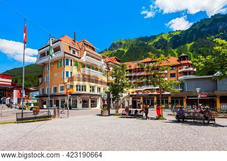 Wengen, Switzerland - July 14, 2019: Traditional Local Houses In Wengen Village In The Interlaken Di