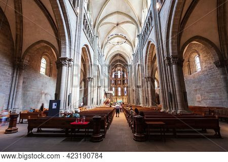 Geneva, Switzerland - July 17, 2019: Saint Pierre Or St. Peter Cathedral Reformed Protestant Church