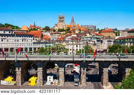 Lausanne, Switzerland - July 19, 2019: Losanna Aerial Panoramic View, Capital City And Biggest Town