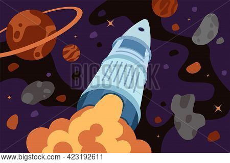 Rocket Exploring Flies Outer Space. Galaxy Exploration Or Travel Banner. Spaceship Flight In Univers