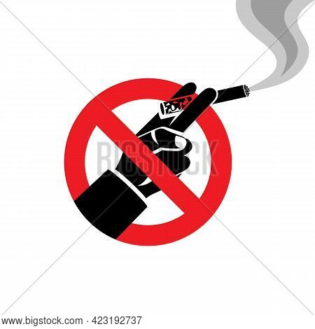 Do Not Smoke. Red Sign Prohibiting Smoking Cigarettes. Black Silhouette Of A Cigarette With Smoke. R