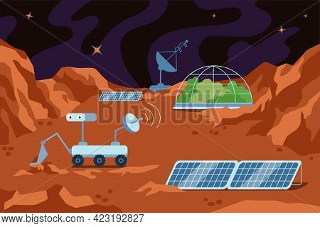 Red Planet Colonization Human Space Base. Science Station On Mars Landscape And Dome Building, Mount