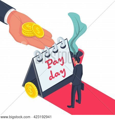 Salary Time. Boss Holding Coin In Hand Gives Worker. Human Hand Reaching Out For Money. Employer And