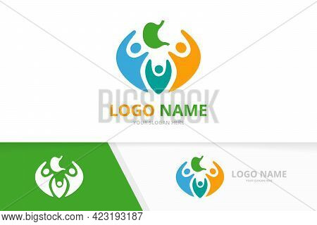 Vector Stomach And People Logo Combination. Gastrointestinal Tract And Human Logotype Design Templat