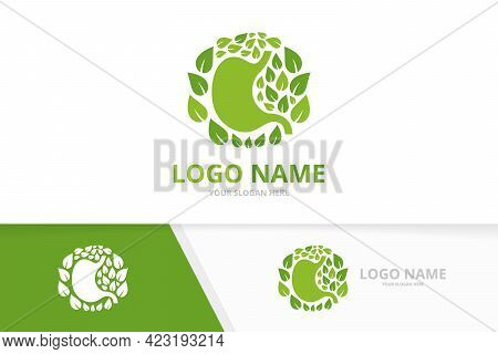 Green Gastrointestinal Tract Logotype Template. Natural Stomach And Leaves Design Logo.