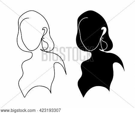 Set Of Female Vector Silhouettes. Female Figure Logo Contour And Fill. Logo For A Beauty Salon. Beau
