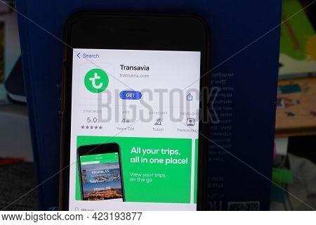 New York, Usa - 1 June 2021: Transavia Mobile App Logo On Phone Screen, Close-up Icon, Illustrative
