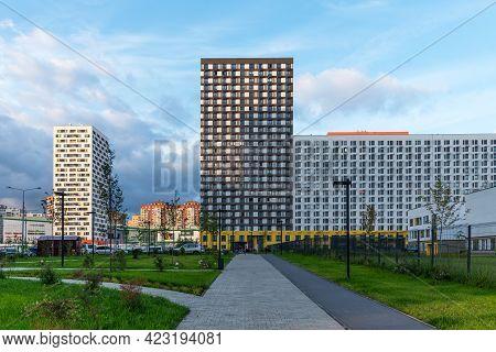 Mytishchi, Russia - August 10, 2019: Panoramic View Of Residential Complex Yaroslavsky In Mytishchi,