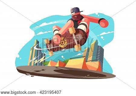 Bearded Man Skateboarder On Skate Vector Illustration. Guy In Casual Clothes Skateboarding And Showi