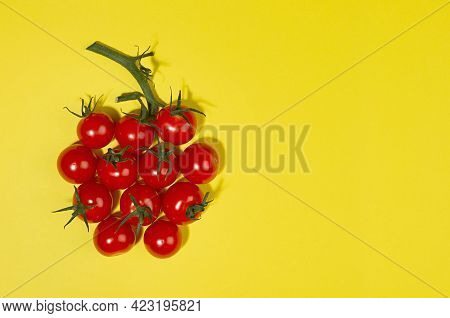 Vegetable Colorful Background - Ripe Cherry Tomatoes As Fantasy Berry Shape With Green Tail With Sha
