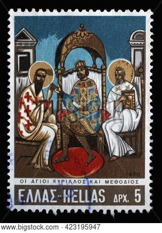 ZAGREB, CROATIA - JUNE 25, 2014: Stamp printed in Greece shows Emperor Michael III with Sts. Cyril and Methodius, circa 1970