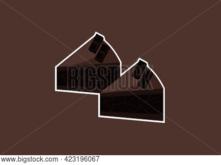 Illustration Of A Piece Of Chocolate Cake With A Sweet And Delicious Mix Of Light Chocolate And Dark