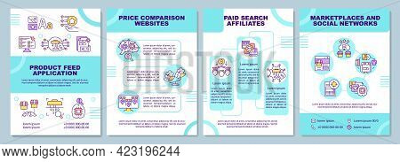 Product Feed Application Brochure Template. Price Comparison. Flyer, Booklet, Leaflet Print, Cover D