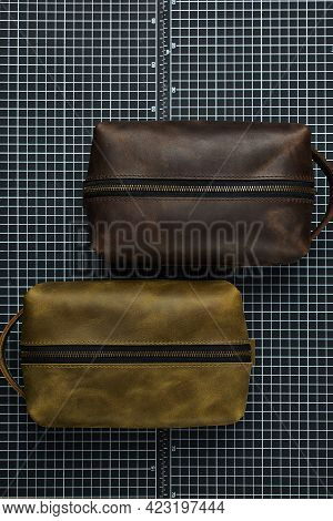 Leather Mens Clutches, Designer Mens Mini Bags Green And Brown, Handmade Leather Mens Accessories, M