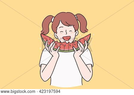Summer Happiness And Healthy Eating Concept. Smiling Cute Little Girl Cartoon Character Standing And