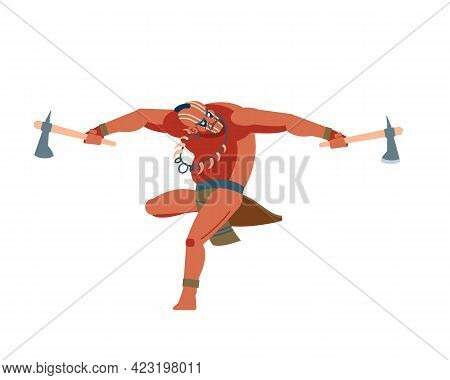 American Indian Warrior Brave Leaping Toward And Attacking With Two A Tomahawk. Native Peoples Of Am