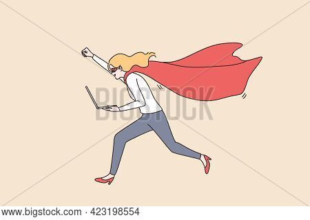 Business Success And Leadership Concept. Young Smiling Positive Businesswoman Cartoon Character Runn