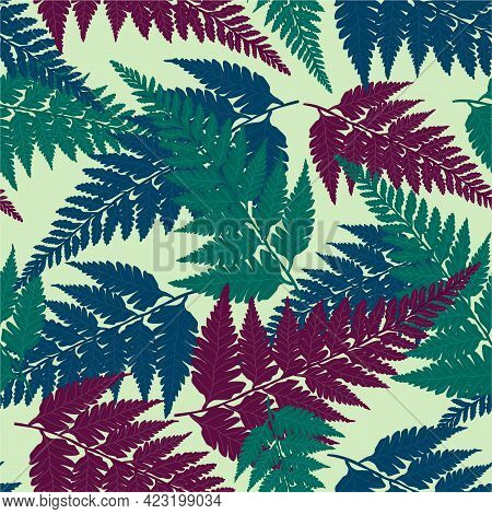 Seamless Decorative Pattern With Vivid Green, Blue And Purple Tropical Forest Fern Leaves Isolated O