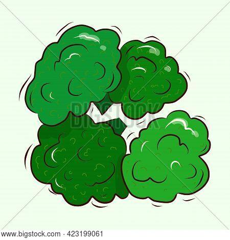 Source Of Vitamin C. Vector Illustration. Broccoli Cabbage. Green Bunch Of Broccoli. Cartoon.