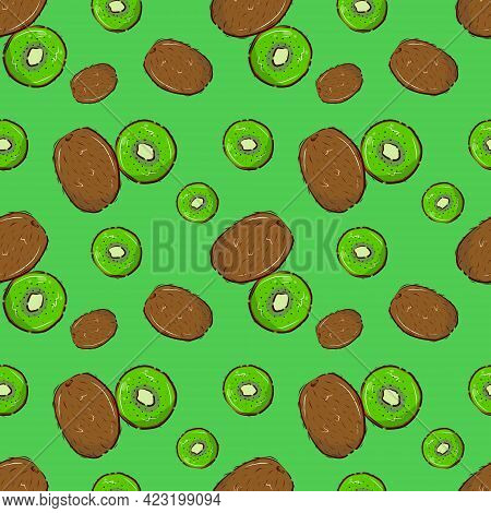 Fruit Pattern. Ripe Kiwi On A Green Background. Seamless Vector Background.