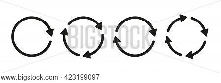 Set Of Circle Arrow Vector Icons. Recycling Icon. Circular Vector Arrows. Refresh And Reload Arrow I