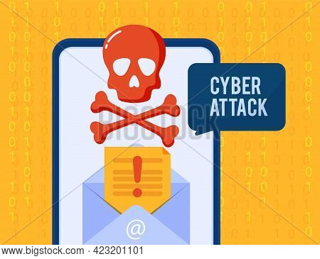 Notification Of A Cyber Attack On The Screen Of Your Smartphone. A Bright Banner With A Soap Bubble
