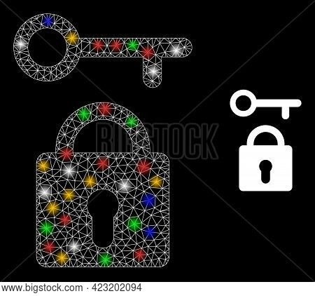 Flare Mesh Net Lock Key With Multicolored Light Spots. Constellation Vector Mesh Created From Lock K