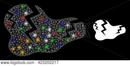 Shiny Mesh Net Crack With Colored Flash Nodes. Constellation Vector Frame Created From Crack Pictogr
